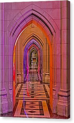 Washington Cathedral Light Show Canvas Print by Susan Candelario