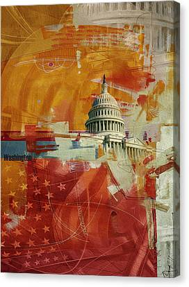 Washington City Collage 4 Canvas Print by Corporate Art Task Force