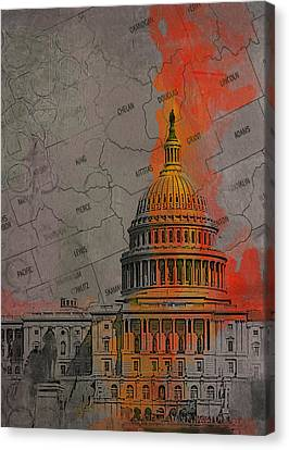 Washington City Collage Canvas Print by Corporate Art Task Force