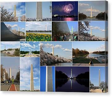 Washington Monument Collage 2 Canvas Print by Allen Beatty