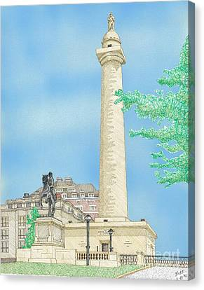 Washington Monument In Baltimore Canvas Print by Calvert Koerber