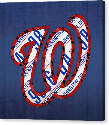 Washington Nationals Vintage Baseball Logo License Plate Art Canvas Print by Design Turnpike