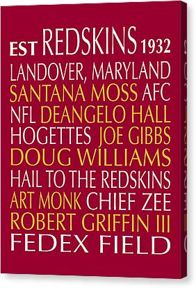 Washington Redskins Canvas Print by Jaime Friedman