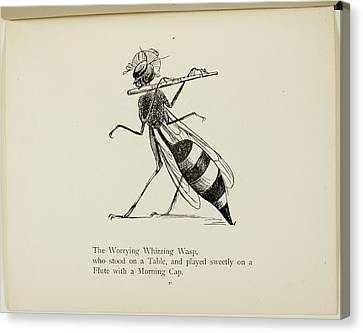 Wasp Playing The Flute Canvas Print by British Library