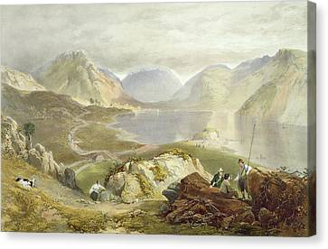 Wast Water, From The English Lake Canvas Print by James Baker Pyne