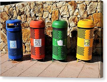 Waste Separation And Recycling Bins Canvas Print by Photostock-israel