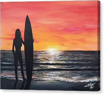 Wasted Sunset Canvas Print by Tom Carlton
