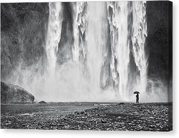 Watcher At The Falls - Iceland Waterfall Photograph Canvas Print by Duane Miller
