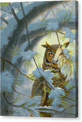 Watchful Eye-owl Canvas Print by Paul Krapf
