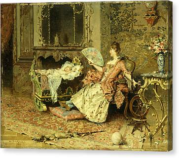Watching The Baby  Canvas Print by Edouard Toudouze