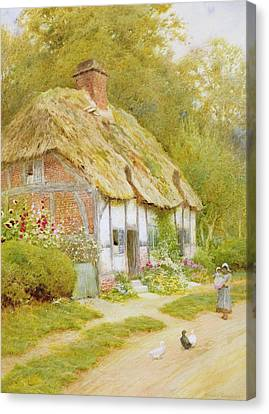 Watching The Ducks  Canvas Print by Arthur Claude Strachan