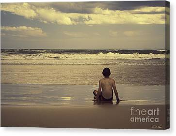 Watching The Waves Canvas Print by Linda Lees