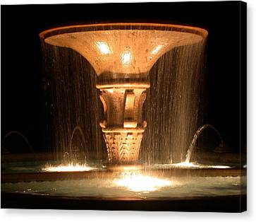 Water Fountain At Night Canvas Print by Dana Bechler