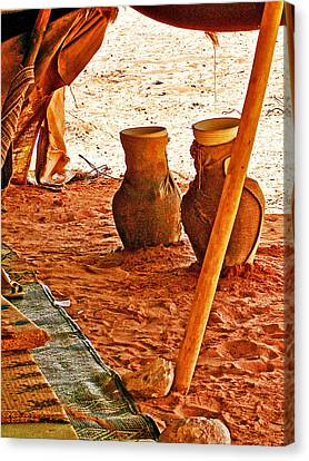 Water Jars In The Bedouin Tent In Wadi Rum-jordan Canvas Print by Ruth Hager