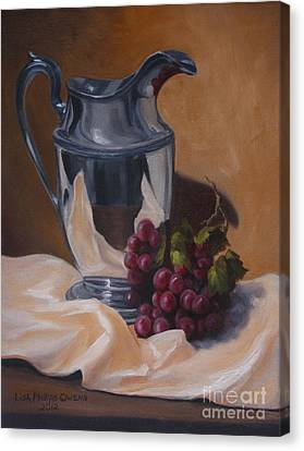Water Pitcher With Fruit Canvas Print by Lisa Phillips Owens