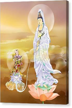 Water-sprinkling Kuan Yin Canvas Print by Lanjee Chee