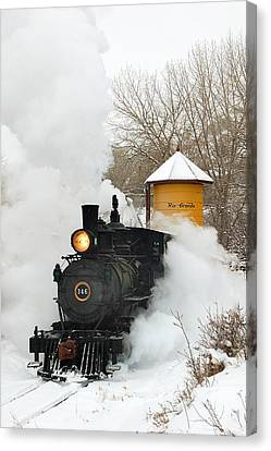 Water Tower Behind The Steam Canvas Print by Ken Smith
