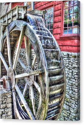 Water Wheel On Mill Canvas Print by John Straton