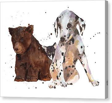 Watercolor Animal Painting Canvas Print by Alison Fennell