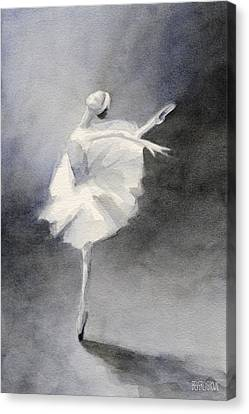 Watercolor Ballerina Painting Canvas Print by Beverly Brown Prints