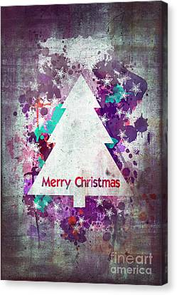 Watercolor Christmas Tree Card Canvas Print by Delphimages Photo Creations