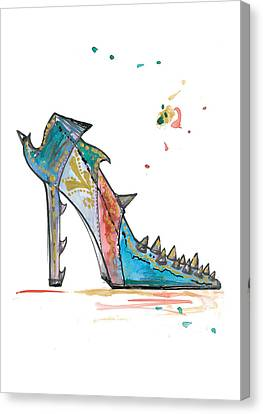 Watercolor Fashion Illustration Art Canvas Print by Marian Voicu