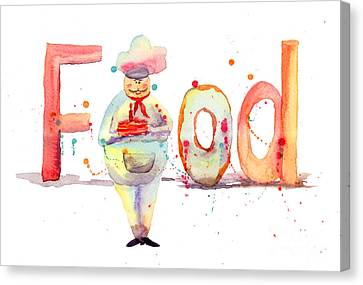 Watercolor Illustration Of Inscription Food With Chef  Canvas Print by Regina Jershova