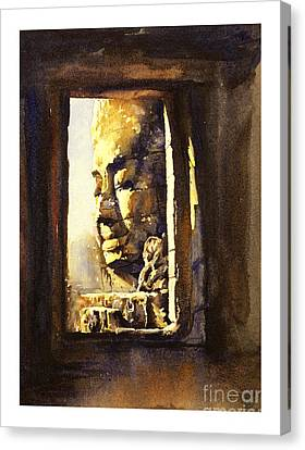 Watercolor Of Cambodian Temple Canvas Print by Ryan Fox