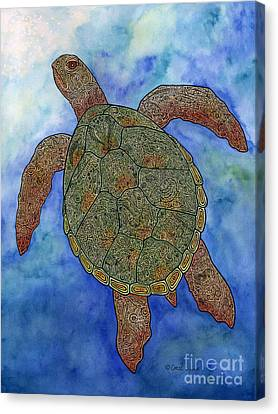 Watercolor Tribal Turtle  Canvas Print by Carol Lynne