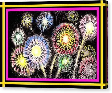 Watercolorful Fireworks Canvas Print by Irina Sztukowski