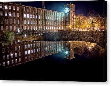 Waterfall At The Cocheco Mill At Night Canvas Print by Jeff Sinon