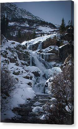 Waterfall Frozen In Time Canvas Print by Michael Bauer