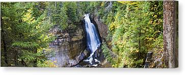 Waterfall In A Forest, Miners Falls Canvas Print by Panoramic Images