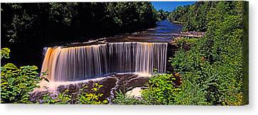 Waterfall In A Forest, Tahquamenon Canvas Print by Panoramic Images