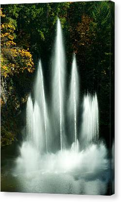 Waterfall In A Garden, Butchart Canvas Print by Panoramic Images