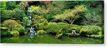 Waterfall In A Garden, Japanese Garden Canvas Print by Panoramic Images