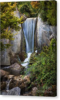 Waterfall In Japanese Garden Canvas Print by Elena Elisseeva