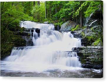 Waterfall In The Pocono Mountains Canvas Print by Bill Cannon