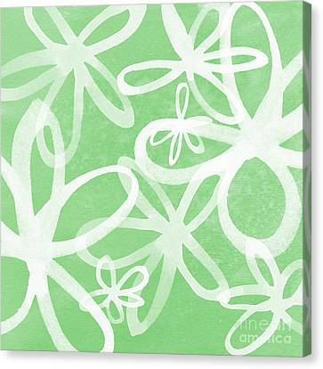 Waterflowers- Green And White Canvas Print by Linda Woods