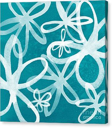 Waterflowers- Teal And White Canvas Print by Linda Woods