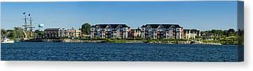 Waterfront Homes And Commercial Canvas Print by Panoramic Images