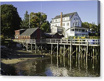 Waterfront Pier In Tenants Harbor Maine Canvas Print by Keith Webber Jr