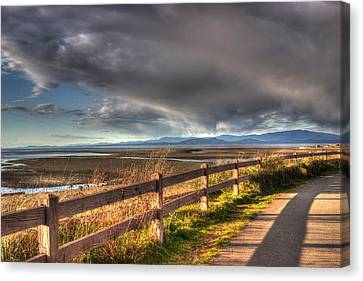 Waterfront Walkway Canvas Print by Randy Hall
