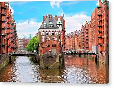 Waterfront Warehouses Canvas Print by Miva Stock