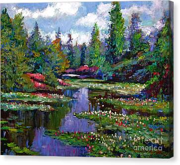 Waterlily Lake Reflections Canvas Print by David Lloyd Glover