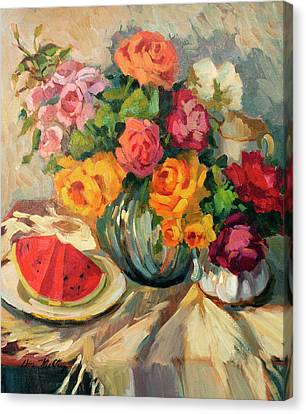 Watermelon And Roses Canvas Print by Diane McClary