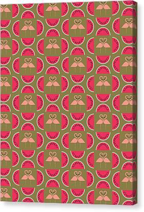 Watermelon Flamingo Print Canvas Print by Susan Claire