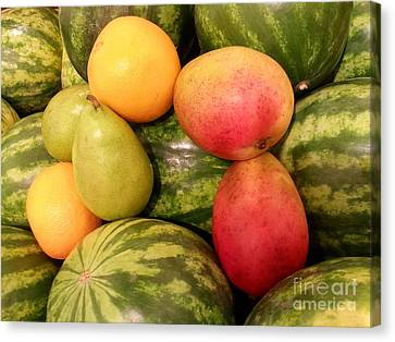 Watermelons And Fruity Friends Canvas Print by Emmy Marie Vickers