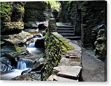 Watkins Glen Exiting The Trail Canvas Print by Frozen in Time Fine Art Photography