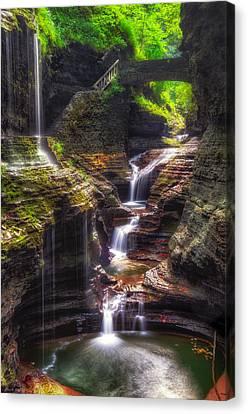 Watkins Glen Rainbow Falls Canvas Print by Mark Papke